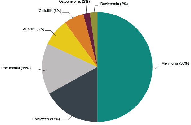 Chart of Diseases Caused By Invasive Haemophilus Influenzae type b (Hib) Prior to 1990