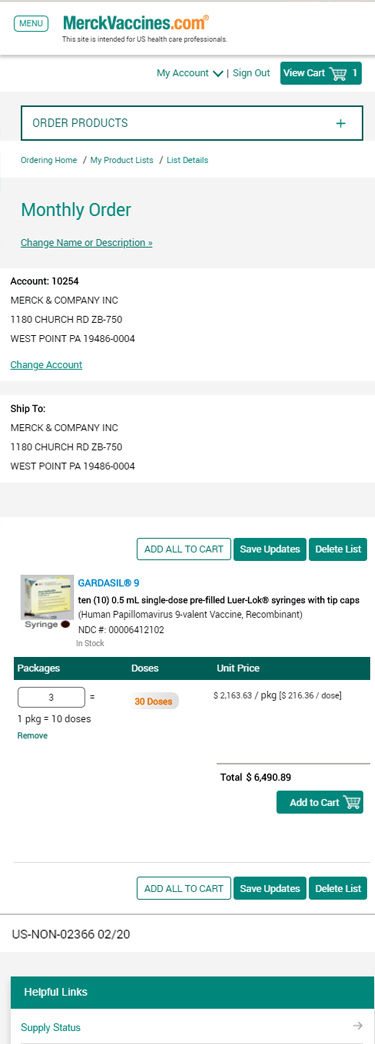 Organize and Expedite Orders Using My Product Lists On MerckVaccines.com